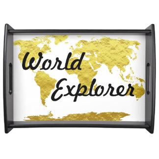 White & Gold World Map World Explorer Serving Tray