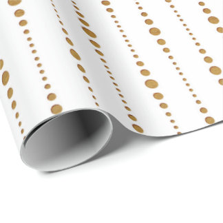 White Golden Delicate Small Polka Dots Drops Wrapping Paper