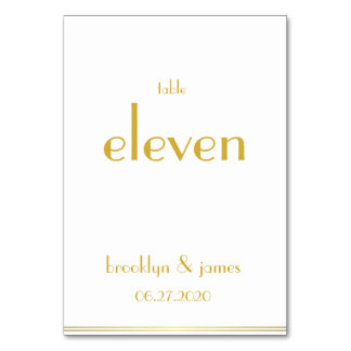 White Golden Great Gatsby Wedding Table Numbers Table Card