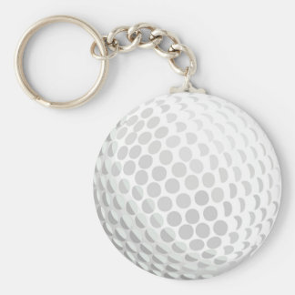 White golf ball for golfer - handicap or not! basic round button key ring