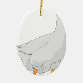 White Goose Illustration Ceramic Ornament