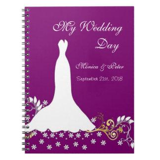 White gown, swirls on purple Wedding Notebook