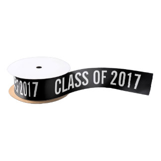 White Graduate Class Of 2017 Typography Black Satin Ribbon
