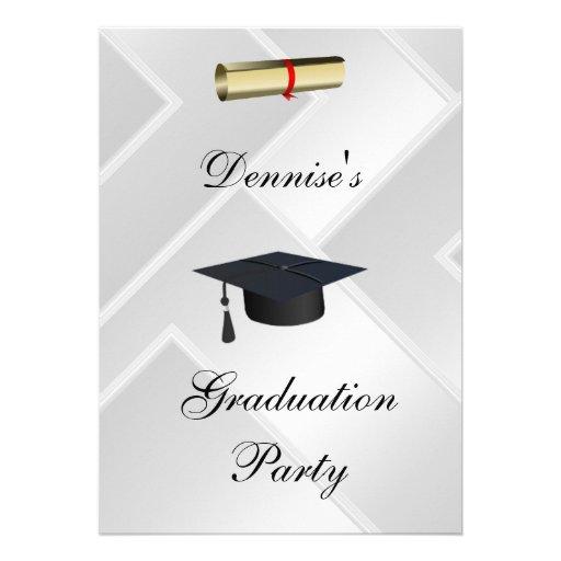 White Graduation Party Formal Invitation Custom Announcements