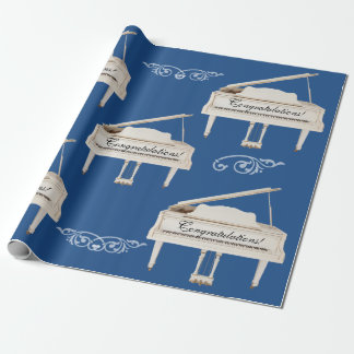 White Grand Pianos, Congratulations Custom Text Wrapping Paper