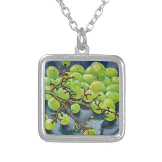 White Grapes Silver Plated Necklace