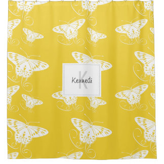 White Graphic Butterflies Bright Yellow Background Shower Curtain