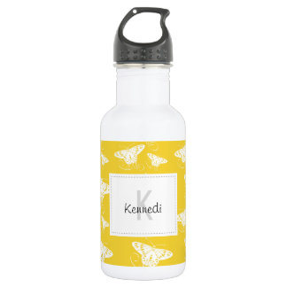 White Graphic Butterflies on Bright Yellow 532 Ml Water Bottle