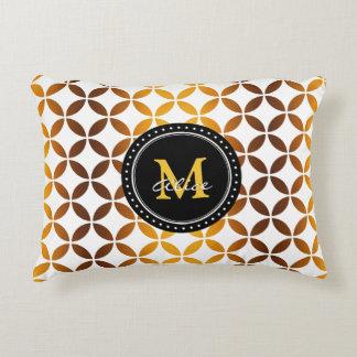 White Graphic Gold Circles and Diamonds Pattern Decorative Cushion