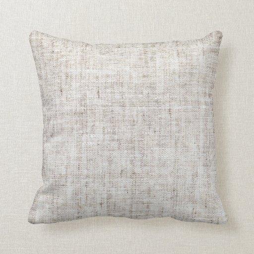 White Gray Burlap Texture Throw Pillows