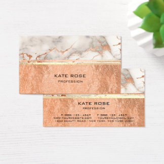 White Gray Carrara Marble Copper Makeup Coral VIP Business Card