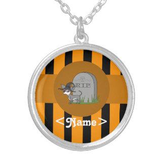 White & Gray Chihuahua - Grave & Orange Stripes Round Pendant Necklace