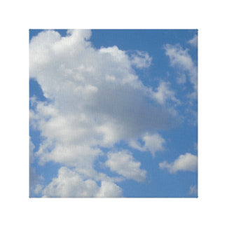 White/Gray Clouds and Blue Sky Canvas Print