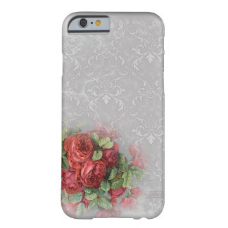 White Gray Damask Red Roses Floral Green Barely There iPhone 6 Case