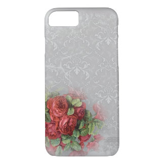 White Gray Damask Red Roses Floral Green iPhone 7 Case