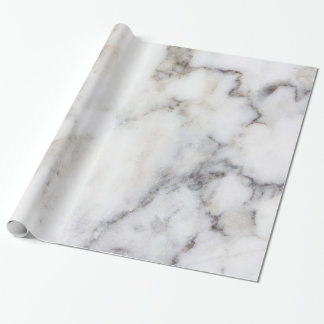 White & Gray Faux Marble Wrapping Paper