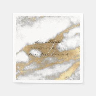 White Gray Gold  Metallic Carrara Marble Wedding Paper Napkin
