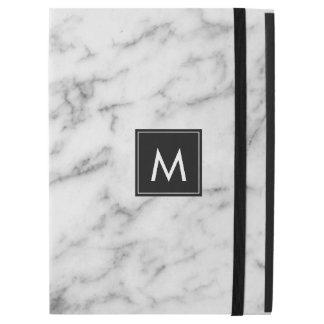 "White & Gray Marble Monogram iPad Pro 12.9"" Case"