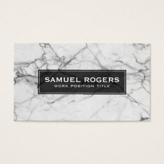 White & Gray Marble Print Business Card