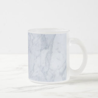 White & Gray Marble Stone Print Frosted Glass Coffee Mug