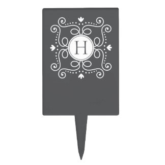 White gray ornament personalized monogram initial cake pick