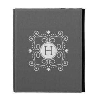 White gray ornament personalized monogram initial iPad case