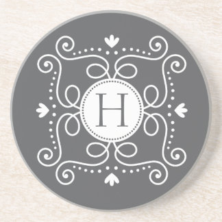 White gray ornament personalized monogram initial drink coaster