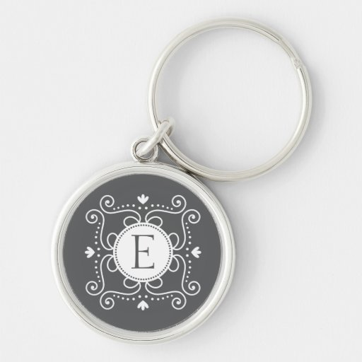 White gray ornament personalized monogram initial keychains