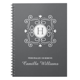 White gray ornament personalized monogram initial spiral notebook