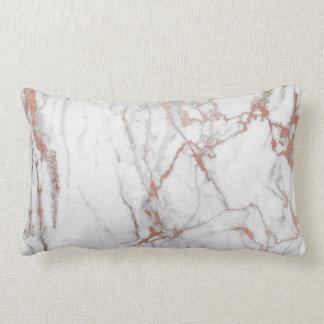 White Gray Pink Rose Brush Powder Glam Marble Lumbar Pillow