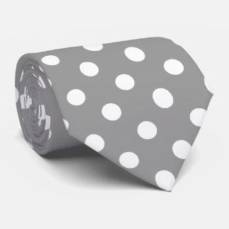 White Gray Polka Dots Pattern Tie