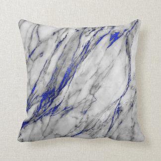 White Gray Sapphire Blue Navy Marble Glam Throw Pillow
