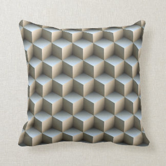 White & Gray Shaded 3D Look Cubes Throw Pillow