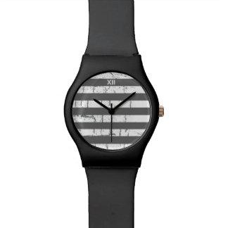 white gray stripes watch