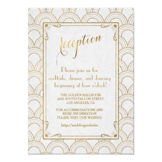 White Great Gatsby Art Deco Gold Reception Card