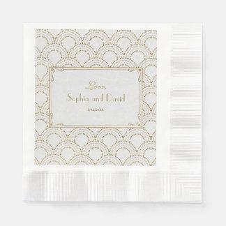White Great Gatsby Art Deco Gold Wedding Disposable Napkin