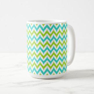 White, Green and Turquoise Zigzag Ikat Pattern Coffee Mug