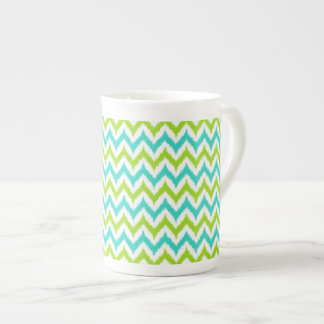 White, Green and Turquoise Zigzag Ikat Pattern Tea Cup