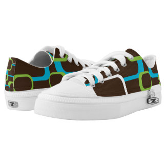 White Green Blue Retro Squares Brown Low Tops