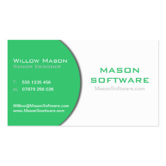 White & Green Corporate Technology Business Card