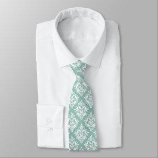 White & Green Floral Damasks Geometric Pattern Tie