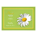 White Green Gold Daisy Wedding RSVP Reply Card Personalised Announcement