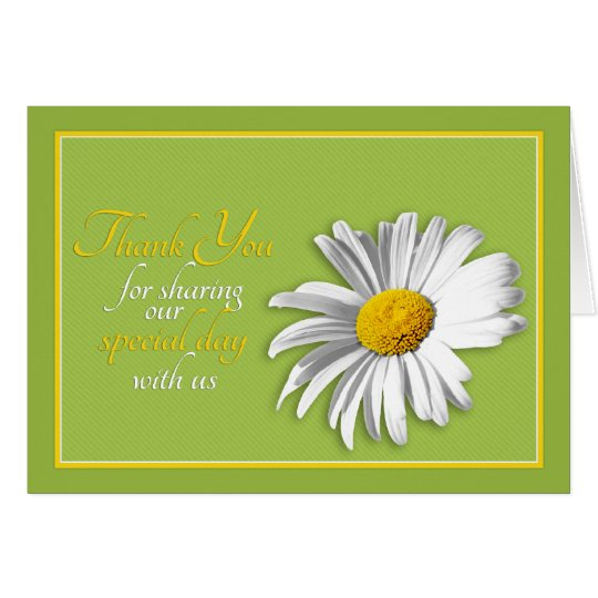 White Green Gold Daisy Wedding Thank You Card
