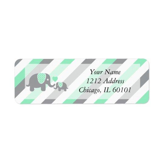 White, Green & Grey Stripe Elephants Baby Shower Return Address Label