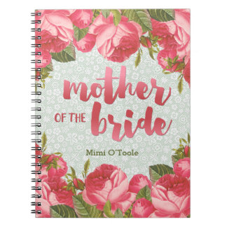 White & Green Lace Mother of the Bride Wedding Spiral Notebook