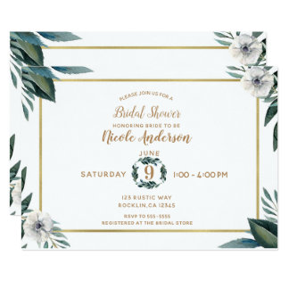 White Green Leaves Anemone Floral Bridal Shower Card
