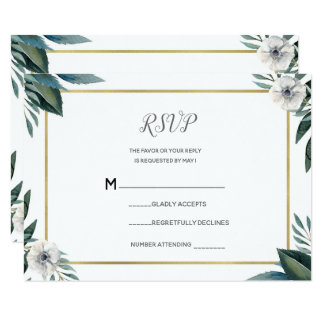 White Green Leaves Anemone Floral RSVP Reply Card
