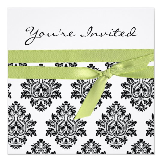 White & Green linen Damask baby shower invite