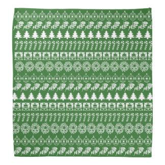 White/Green Rows Christmas Font Art Pattern Bandana