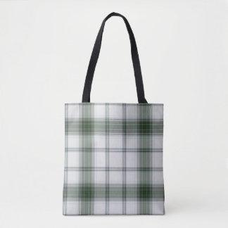 White Green Tartan Plaid Tote Bag